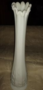 Westmoreland paneled grape milk glass vase.